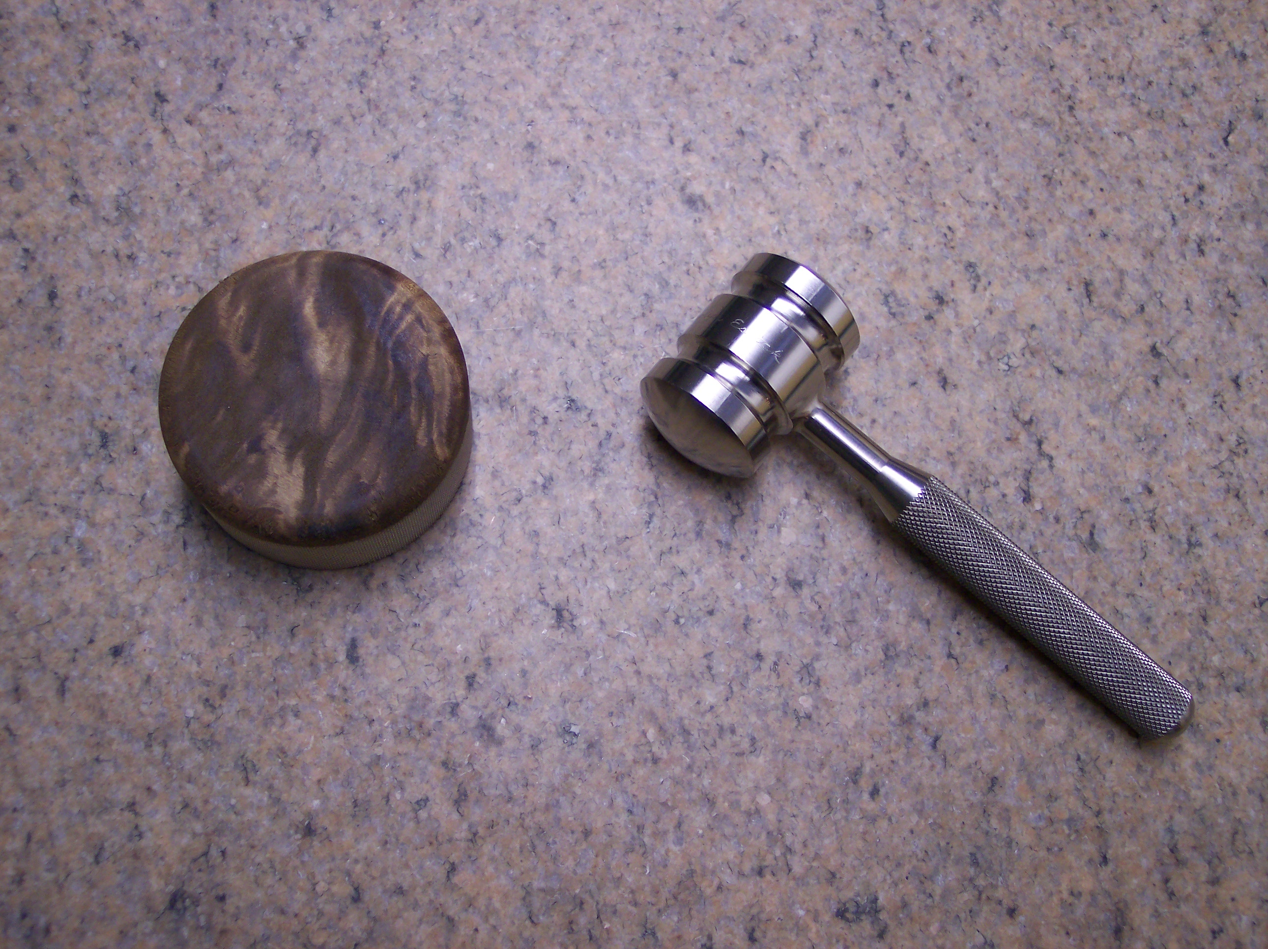 One piece billet Titanium Gavel with Maple Burl Striker